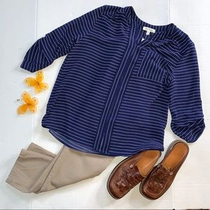 Monteau Navy Blue Pinstripe Dress Blouse
